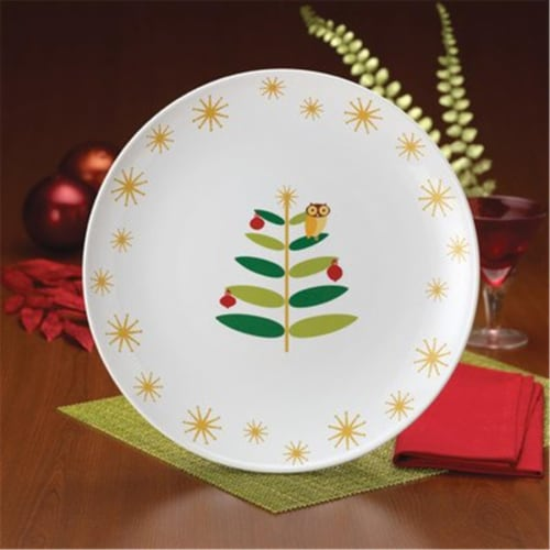 Rachael Ray Holiday Hoot 14-Inch Round Platter Perspective: front