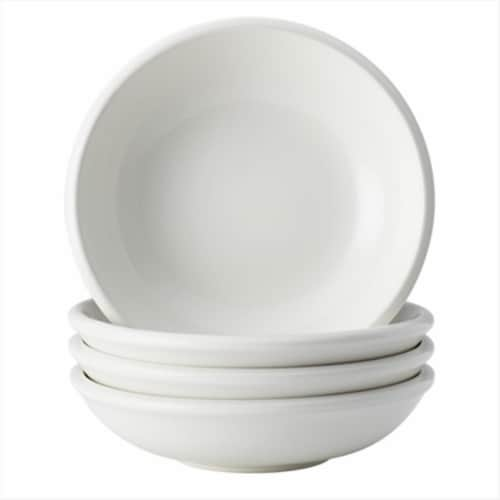 Rachael Ray 4 Piece Dinnerware Rise Stoneware Fruit Bowl Set, White Perspective: front