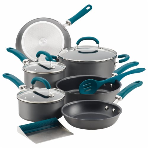 Rachael Ray Create Delicious Nonstick Cookware Set - Gray/Teal Perspective: front