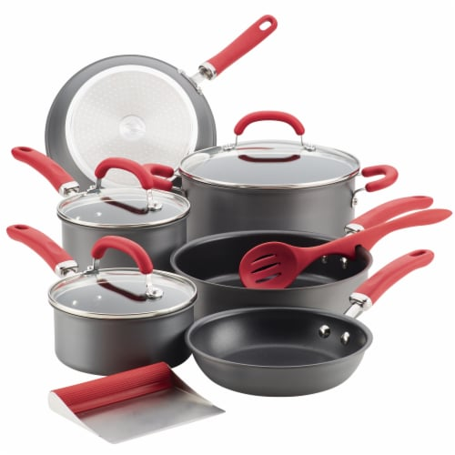 Rachael Ray Create Delicious Nonstick Cookware Set - Gray/Red Perspective: front