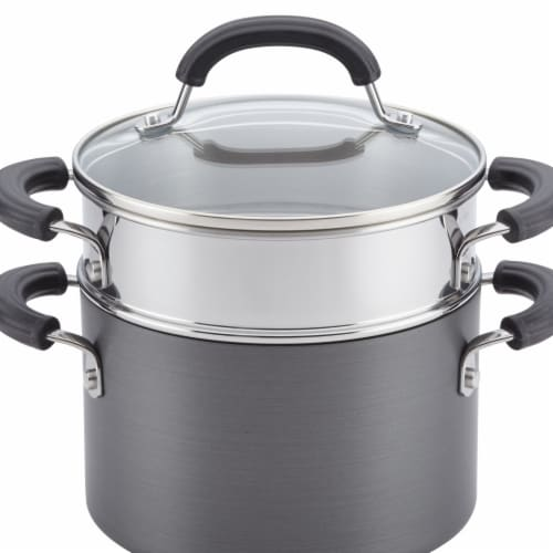 Circulon Hard-Anodized Nonstick 3 qt. Covered Saucepot with Steamer Insert Perspective: front