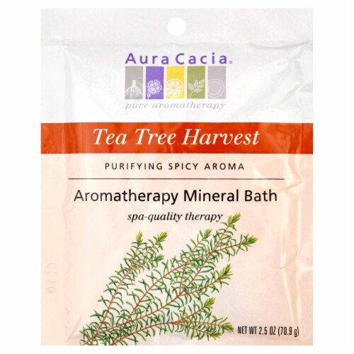 Aura Cacia Tea Tree Harvest Aromatherapy Mineral Bath Perspective: front