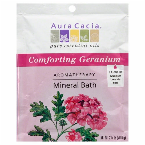 Aura Cacia Comforting Geranium Aromatherapy Mineral Bath Perspective: front