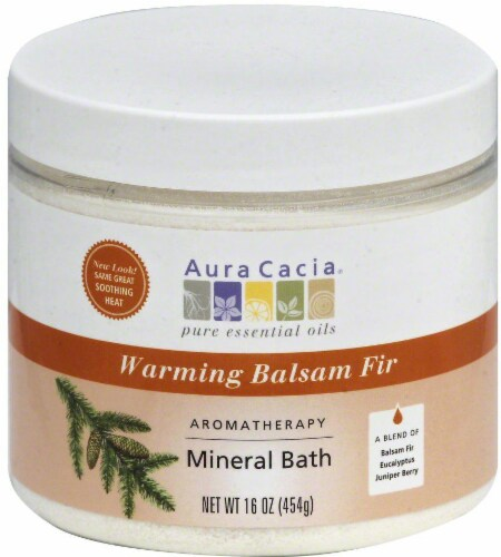 Aura Cacia Warming Balsam Fir Aromatherapy Mineral Bath Perspective: front
