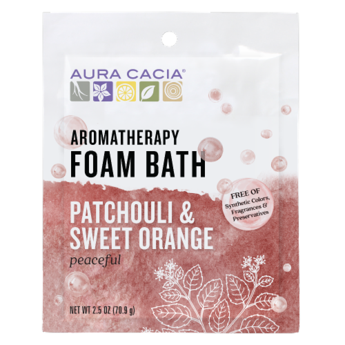 Aura Cacia Patchouli Sweet Orange Foam Bath Perspective: front