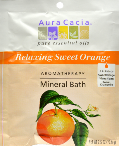 Aura Cacia Relaxing Sweet Orange Mineral Bath Perspective: front