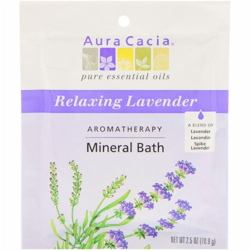 Aura Cacia Lavender Harvest Aromatherapy Mineral Bath Perspective: front