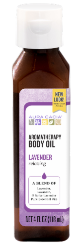 Aura Cacia Relaxing Lavender Aromatherapy Body Oil Perspective: front