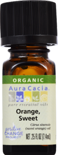Aura Cacia Organic Sweet Orange Oil Perspective: front