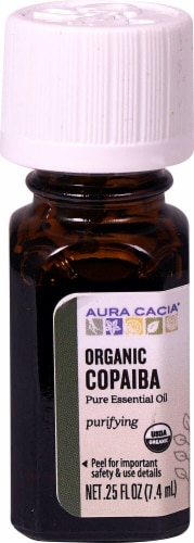 Aura Cacia Purifying Organic Copaiba Pure Essential Oil Perspective: front
