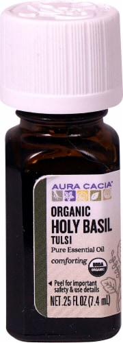 Aura Cacia Comforting Organic Holy Basil Tulsi Pure Essential Oil Perspective: front