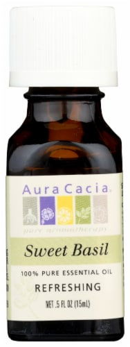 Aura Cacia Sweet Basil Essential Oil Perspective: front