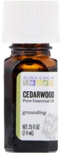 Aura Cacia Cedarwood Essential Oil Perspective: front