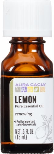Aura Cacia Lemon Essential Oil Perspective: front