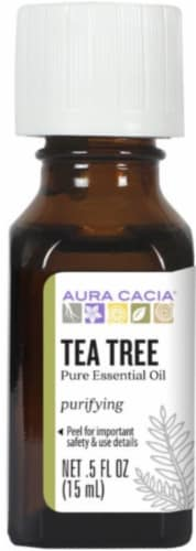 Aura Cacia Tea Tree Pure Essential Oil Perspective: front