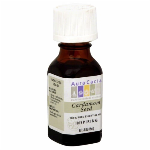 Aura Cacia Inspiring Cardamom Seed Pure Essential Oil Perspective: front