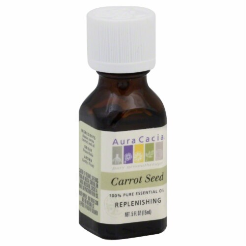 Aura Cacia Replenishing Carrot Seed Pure Essential Oil Perspective: front