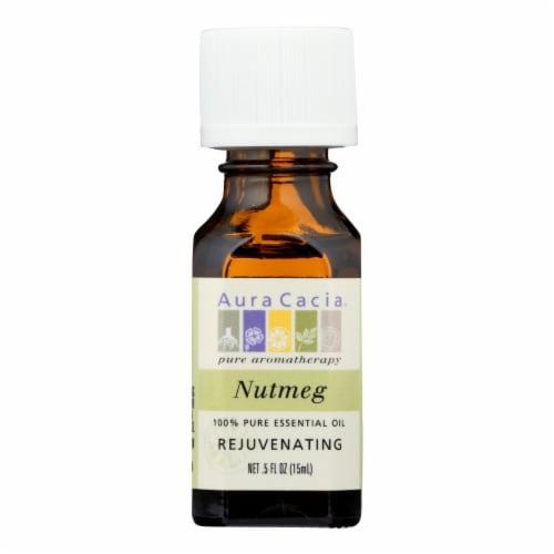 Aura Cacia Rejuvenating Nutmeg Pure Essential Oil Perspective: front