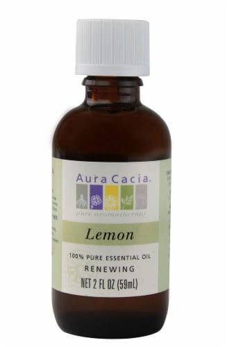 Aura Cacia Renewing Lemon Pure Essential Oil Perspective: front