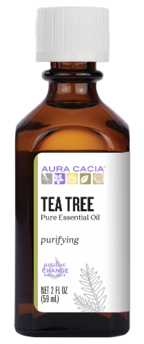 Aura Cacia Tea Tree Essential Oil Perspective: front