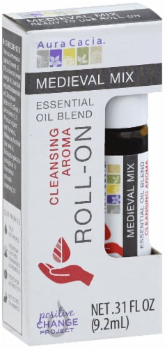 Aura Cacia Cleansing Aroma Medieval Mix Essential Oil Blend Roll-On Perspective: front