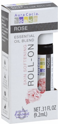 Aura Cacia Rose Silk Softening Essential Oil Blend Roll-On Perspective: front