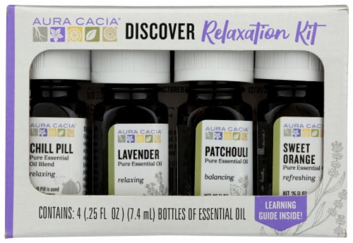 Aura Cacia Discover Relaxation Pure Essential Oils Kit Perspective: front