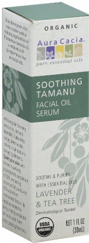 Aura Cacia Soothing Tamanu Lavender & Tea Tree Facial Oil Serum Perspective: front