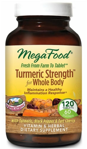 MegaFood Turmeric Strength for Whole Body Tablets Perspective: front