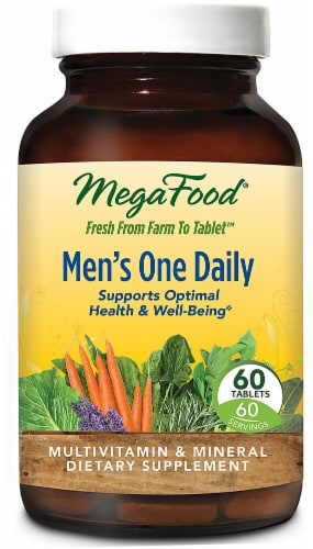 MegaFood Men's One Daily Tablets Perspective: front