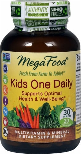 MegaFood Kid's One Daily Tablets 30 Count Perspective: front