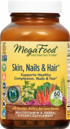 MegaFood Skin Nails and Hair Tablets 60 Count Perspective: front