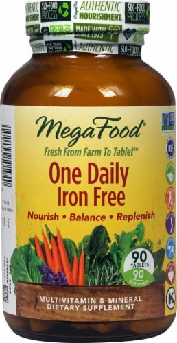 MegaFood One Daily Iron Free Tablets Perspective: front