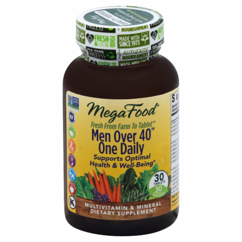 MegaFood Men Over 40 One Daily Multi Vitamin Tablets Perspective: front