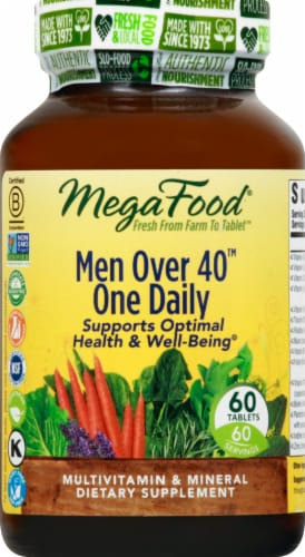 MegaFood Men Over 40 One Daily Tablets 60 Count Perspective: front