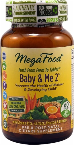 MegaFood Baby & Me 2 Pre & Post Natal Dietary Supplement Tablets 60 Count Perspective: front