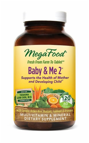 MegaFood Baby & Me 2 Pre & Post Natal Dietary Supplement Tablets 120 Count Perspective: front