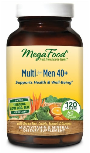 MegaFood Multi for Men 40 Plus Tablets Perspective: front