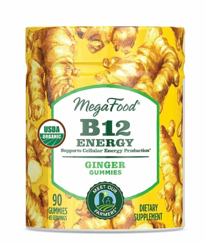 MegaFood B12 Ginger Energy Gummies Perspective: front