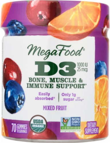 MegaFood Vitamin D3 Dietary Supplement Gummies Perspective: front