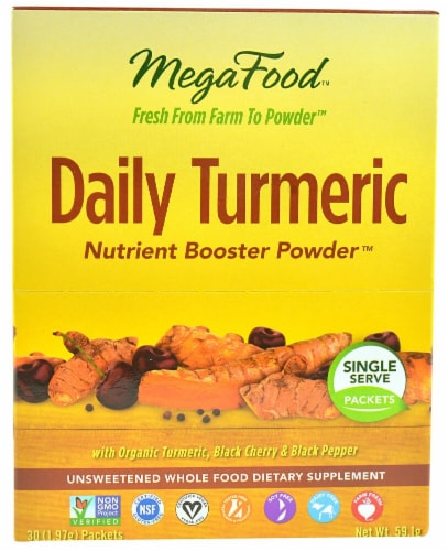 MegaFood Daily Turmeric Single Serve Nutrient Boost Powder Perspective: front
