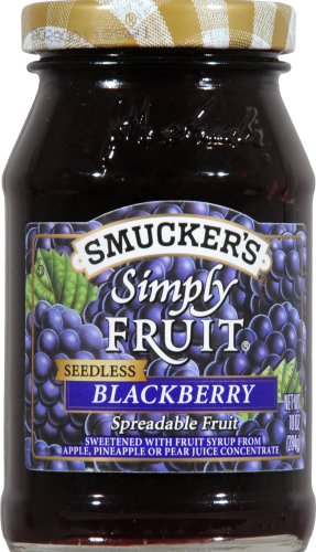 Smucker's Simply Fruit Seedless Blackberry Fruit Spread Perspective: front