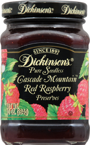 Dickinson's Pure Seedless Cascade Mountain Red Raspberry Preserves Perspective: front