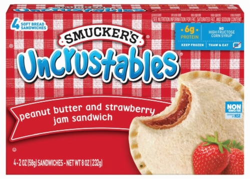 Smucker's Uncrustables Peanut Butter and Strawberry Jam Sandwich Perspective: front