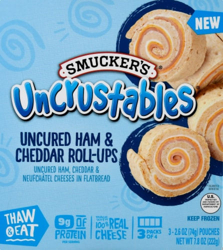 Smucker's Uncrustables Ham and Cheddar Roll Ups 3 Count Perspective: front