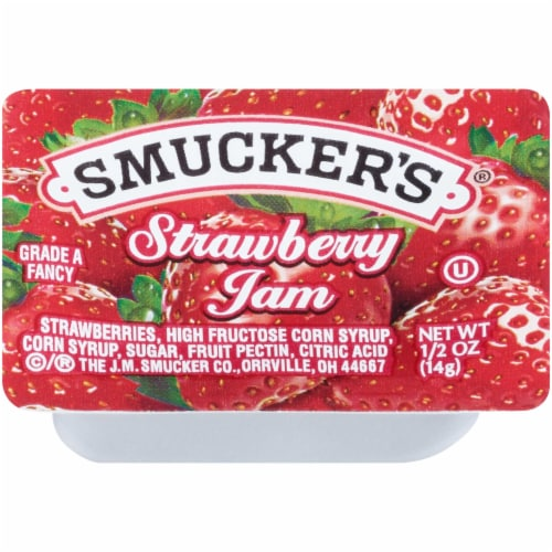 Smuckers Strawberry Jam, 0.5 Ounce -- 400 per case. Perspective: front