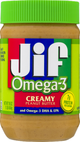 Jif Omega-3 Creamy Peanut Butter Perspective: front
