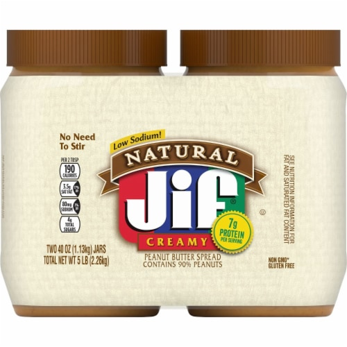 Jif Natural Creamy Peanut Butter Twin Pack Perspective: front