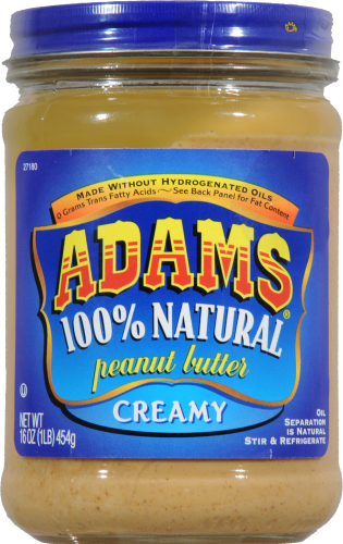 Adams 100% Natural Creamy Peanut Butter Perspective: front