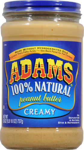 Adam's 100% Natural Creamy Peanut Butter Perspective: front